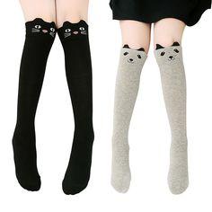 US Girls 3D Cartoon Animals Cat / Bear Thigh Stockings Over Knee High Long Socks #Generic #Cartoon