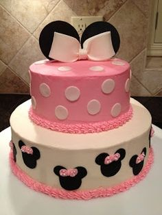 Minnie Mouse Birthday Cake Just using top layer and a minnie character Minnie Mouse Birthday Cakes, Minnie Mouse Theme, Birthday Cake Girls, 2nd Birthday, Birthday Ideas, Bolo Minnie, Mickey Mouse Cake, Minnie Mouse Cake, Mini Mouse Baby Shower