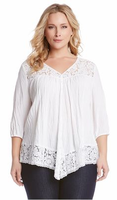 Lace Inset Crinkle Top