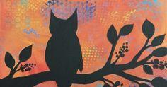 Angela Anderson Art Blog: Owl Silhouette Paintings - Kids Art Class