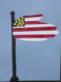 Hand print American Flag- art project for Memorial Day, Veteran's day, 4th of July, Flag Day