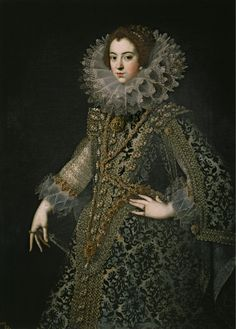 "Unknown artist – Attributed to Rodrigo de Villandrando Portrait of Elisabeth of France, Queen of Spain; 1621 Museo del Prado, Madrid, Spain ""Elisabeth of France – was Queen consort of Spain to and Portugal to as. Mode Renaissance, Costume Renaissance, Renaissance Portraits, Renaissance Fashion, French History, Art History, 17th Century Fashion, 16th Century, French Royalty"