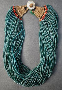 Naga Jewelry | Naga Necklace made out of glass beads. Tribe:Konyak Tribe. Origin: Nagaland.