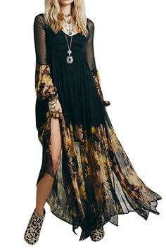Boho Chiffon Maxi // love the print and solid mix