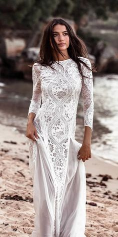 27 Bohemian Wedding Dress Ideas You Are Looking For ? bohemian wedding dress sheath with long sleeves lace grace loves lace How To Dress For A Wedding, V Neck Wedding Dress, Classic Wedding Dress, Long Sleeve Wedding, Wedding Dress Shopping, Cheap Wedding Dress, Lace Wedding, Wedding Bride, Mermaid Wedding