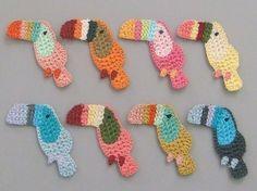 Crochet 8 perroquet Appliques 8 couleurs EA130 par twpmango sur Etsy