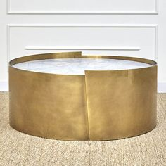 ALTA COFFEE TABLE - BURNISHED BRASS & WHITE VENATINO | Kelly Wearstler | $12,200