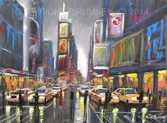 PETE RUMNEY FINE ART MODERN OIL ACRYLIC PAINTING ORIGINAL NEW YORK TIMES SQUARE in Art, Artists (Self-Representing), Paintings | eBay