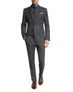 Huge Genius Slim Birdseye Three-Piece Suit, Charcoal