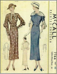 1930's McCall 7744 - Ladies Dress With Optional Shawl Collar and Three Sleeve Variations