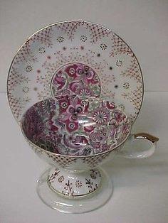 Vintage Royal Paisley Pink Chintz Footed Bone China Tea Cup & Saucer: