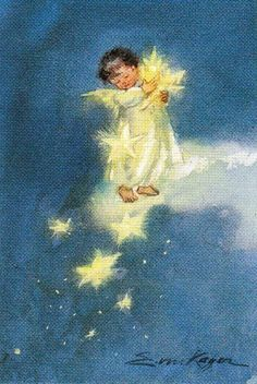 """""""Littlest Angel"""" illustrations by Erica Von Kager Retro Christmas, Vintage Christmas Cards, Christmas Pictures, Christmas Angels, Christmas Art, Vintage Cards, Xmas, Illustration Noel, Christmas Illustration"""