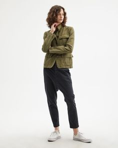 Shop the Paris Pants collection in black, camo, dark navy and red. These Italian brushed stretch cotton twill pants feature a cropped, low rise relaxed fit. Field Jacket, Vest Jacket, Bomber Jacket, Human Poses Reference, Twill Pants, Women's Pants, Trousers, Drop Crotch Pants, Nili Lotan