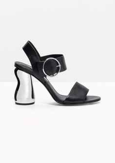 Cross Tie Metallic Heels - Black