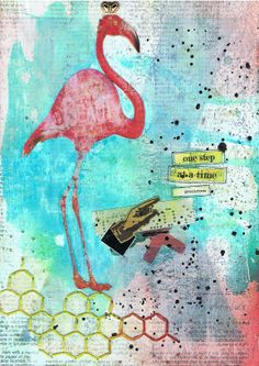 Art Journal - 'One Step'  Mixed media by http://inkyfingersstore.blogspot.com.au/