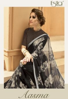 Esta Design Aasma Fancy Designer Printed Georgette Sarees Collection at Wholesale Rate Source by arunimabhattach saree Trendy Sarees, Stylish Sarees, Fancy Sarees, Simple Sarees, Sari Blouse Designs, Modern Blouse Designs, Black Blouse Designs, Sari Design, Choli Designs
