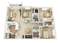 apartment floor plans Glen Park Apartment Homes in the heart of Smyrna, GA offers large, spacious one, two, three and four-bedroom apartments boasting amazing amenities and one of House Floor Design, Sims House Design, Home Design Floor Plans, Bungalow House Design, Small House Design, Sims House Plans, House Layout Plans, Small House Plans, House Layouts