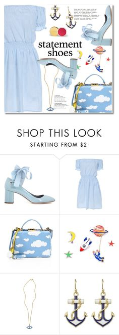 """Statement shoes"" by fshionme ❤ liked on Polyvore featuring Miu Miu, Mark Cross, StreetStyle, Spring, Blue and statementshoes"