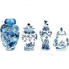 Ginger Jars Watercolor Print