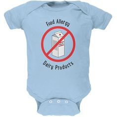 Food Allergy Dairy Products Kids Light Blue Soft Baby One Piece