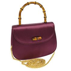 Authentic GUCCI Bamboo Chain 2way Hand Bag Violet Satin Italy Vintage O01182a