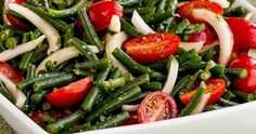 Green Bean, Tomato, Onion, and Basil Summer Salad; low-carb, gluten-free, dairy-free, vegan, Paleo, Whole 30, South Beach Diet