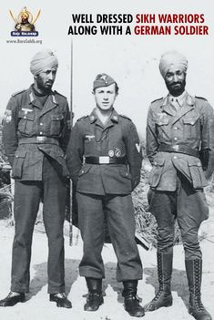 Well dressed Sikh Warriors along with a German Soldier Share & Spread! Military Careers, Military History, Native American History, British History, Luftwaffe, Ww2 Uniforms, Military Uniforms, Ww2 Pictures, History Of India