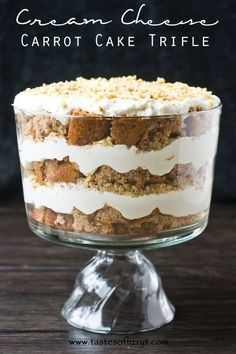 Cream Cheese Carrot Cake Trifle {Tastes of Lizzy T} @Betty Crocker  carrot cake layered with a light and fluffy cream cheese layer.