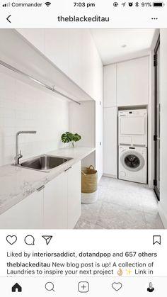 34 ideas for bath room design small white laundry rooms Modern Laundry Rooms, Laundry In Bathroom, Laundry In Kitchen, Laundry Cabinets, Zen Bathroom, Basement Laundry, Bathroom Modern, Modern Room, White Bathroom