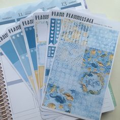 "Sea & Beach Planner Sticker Full Weekly Kit ""Seashore"", Blue, Gold, Yellow, Vertical Erin Condren Style Stickers, Happy Planner"