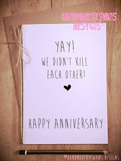 Yay we didnt kill each other happy anniversary cheeky funny novelty £3.75