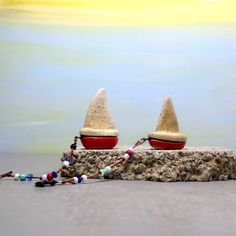 Miniature boat, Ceramic boat, Red and white boat, Little boat, Ceramic village, Sailboat, Office accessories, Desk accessories, For him by ednapio on Etsy