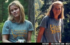 Reese Witherspoon in the Wild movie and Cheryl Strayed in real life during her 1995 Pacific Crest Trail hike.