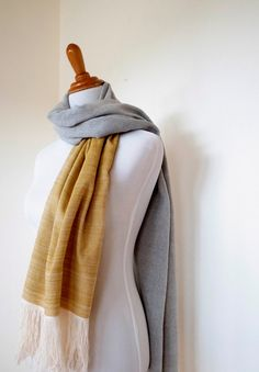 Grey Yellow Shawl in Cashmere Cotton Handwoven by Handarbete, $170.00