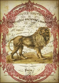 Instant Art Original Print French Circus Lion Ready for Framing, Quilt Making, Invitations, Etc-Digital Download. $3.25, via Etsy.