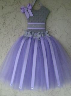 Hair Bow Holder Tutu Gray Minky and Lavender by Mimisartistree