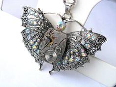 Necklace Steampunk  Jewelry butterfly by steampunkerstudio on Etsy