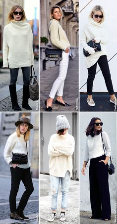 Inspiration   White Knitted Sweaters