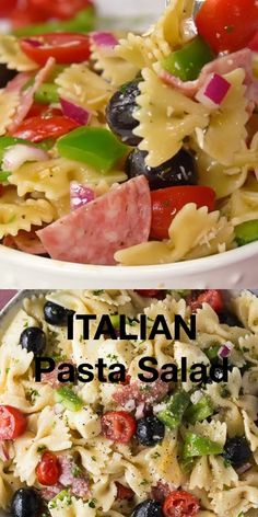 Italian Pasta Salad - Packed full of deliciousness, this pasta salad will be a hit at your parties! Easy Pasta Salad Recipe, Healthy Salad Recipes, Macaroni And Cheese Salad Recipe, Pasta Salad Recipes Cold, Summer Pasta Recipes, Summer Pasta Salad, Pasta Salad With Cucumber, Bow Pasta Salad, Easy Cold Pasta Salad