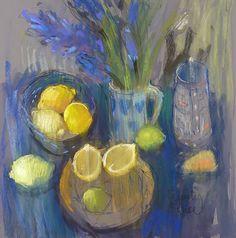 Felicity House - Hyacinths and lemons, pastel drawing