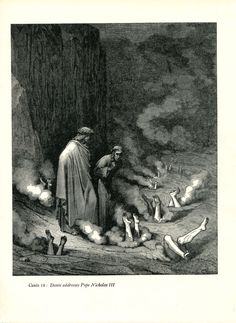 Gustave Dore Print /Bookplate 1948 Dante Pope Nicholas III Hell Divine Comedy #Realism