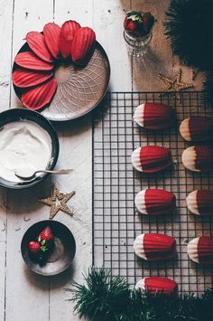 Rosemary & Strawberry Madeleines with White Chocolate A cupcake for love