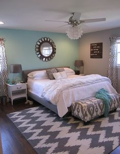 Love this color scheme for the bedroom ..... calm soothing yet bright and cheery to wake up to:-)