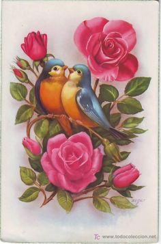 Vintage birds, aviaries and eggs :-) Enjoy! Art Floral, Decoupage, Illustration Blume, Bird Drawings, Flower Wallpaper, Fabric Painting, Bird Art, Vintage Cards, Vintage Flowers
