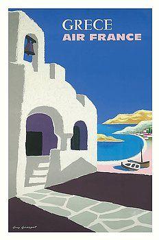 grece,greece,greek,air france,vintage airline travel poster,guy georget,mykonos,crete,santorini,rhodes,mediterranean,crete,vintage travel poster,retro,poster art,vintage advertising,vintage travel,