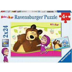 Mása és a medve 2x24db-os puzzle - Ravensburger Puzzle Ravensburger, Winnie The Pooh, Disney Characters, Fictional Characters, Family Guy, Teddy Bear, Age, Toys, Animals
