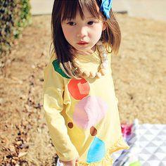 8f0b874f2421a ANNIKA ベタープリティーロングTシャツ(イエロー) - 韓国子供服 通販 リズハピネス  キッズ服 ベビー服 男の子 女の子   こども服セレクトショップ