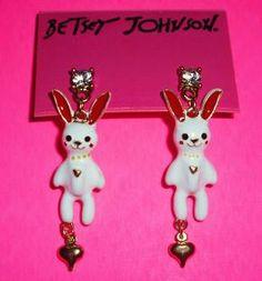 Betsey Johnson Earrings Peter Rabbit Dangle Free Shipping                            $10.95
