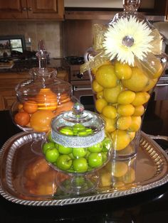 Citrus filled apothecary jars - kitchen island centerpiece