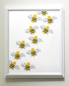 Nursery Art - Baby Feet Bumble Bee Cascade - by ByKathrynTherese this would be very good for high count multiples. Baby Crafts, Cute Crafts, Kid Crafts, Bee Nursery, Nursery Art, Nursery Ideas, Classroom Art Projects, Kid Projects, Classroom Ideas
